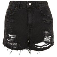 PETITE Longline Ripped Mom Denim Shorts