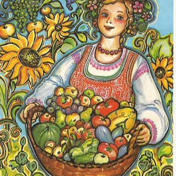 Vintage post card - Soviet postcard - Ukrainian - Russian card  - congratulation card-greeting card- not used