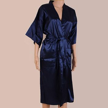 Summer Navy Blue Men Faux Silk Kimono Bath Gown Chinese Style Long Robe Nightgown Casual Sleepwear Size S M L XL XXL XXXL SM052