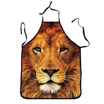 1Pcs Lion Printed Adult Apron Bibs Home Cooking Baking Party Funny Cleaning Aprons Kitchen Accessories Gift 46062