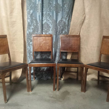 Mid century wooden folding chairs set of four 4