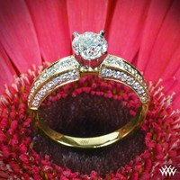 "18k Yellow Gold with Platinum Head ""Three-Side Pave"" Diamond Engagement Ring"