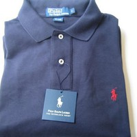 Polo Ralph Lauren Men's Interlock Polo Shirt in Solid Navy Blue, Red Pony (Classic Fit)