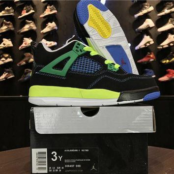 DCCKIJ2 Kid's Air Jordan 4 Retro Leather Basketball Shoes Black Green