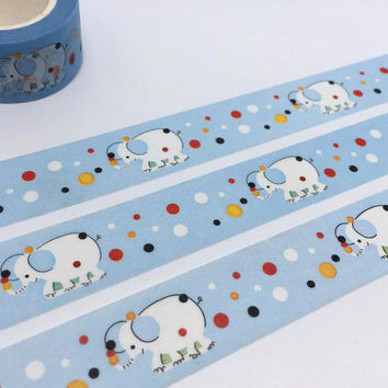 White elephant tape 10M polka dots elephant washi tape animal blue sticker tape deco kid party invitation planner diary scrapbook gift