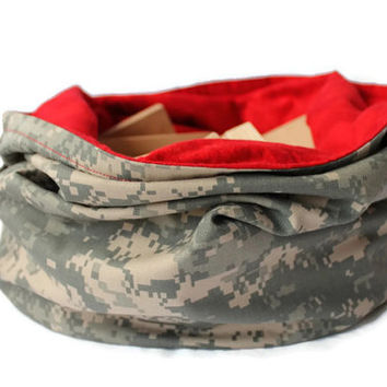ACU Twill & Bright Red Toy Bag Flannel Laundry Tote Extra Large Bucket Bag Travel Bag Army Green Tan - US Shipping Included