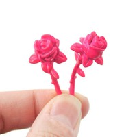 Fake Gauge Earrings: Detailed Rose Floral Flower Shaped Front and Back Stud Earrings in Pink