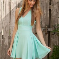 Love Aqua Chiffon Cross Back Dress- Love Cross Back dress- Love Dresses- $65.99