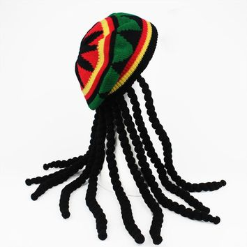 Spring Red Green Yellow Black Woolen Knitting Jamaica Rasta Hat with Dreadlocks