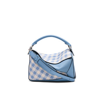 Loewe Gingham Puzzle Bag in Soft Blue | FWRD