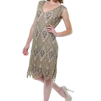 1920's Bronze & Pewter Art Deco Pattern Flapper Dress - Unique Vintage - Homecoming Dresses, Pinup & Prom Dresses.