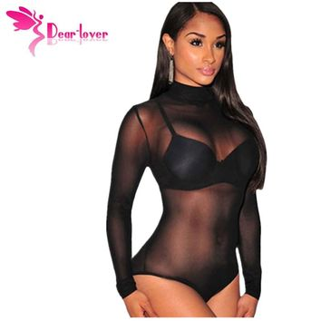 Dear Lover Turtleneck Long Sleeve Teddy Lingerie Autumn Black Mesh Unlined Mock Neck Bodysuit Women's Top vetement femme LC3278