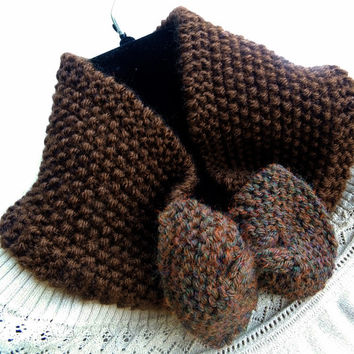 Mini Cowl in Chestnut brown,Bow Headband,Knit Turban,Handmade Headband,Knit EarWarmer,Winter Headband,Knit Women Accessory,FREE SHIPPING