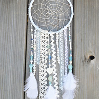 Peaceful Dreams Dreamcatcher - Handmade Boho Wall Hanging - Blue and White Dream catcher