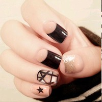 24Pcs Shiny Black Star False Nails Clear Glitter French Fake Nail Tips DIY Press On Nail Manicure Salon Products Z083