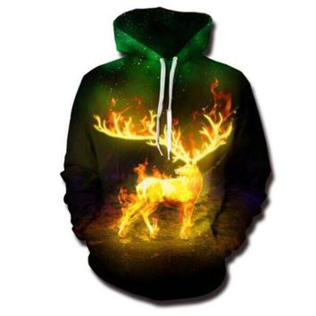 Newest Fashion Womens/Mens Yellow Fired Deer Funny 3D Print Casual Hoodies Pullovers Sweatshirts LMS00052