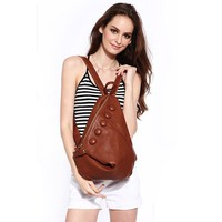 MapleClan Decorative Button Triangle Shape Cow Leather Vintage Backpack Brown