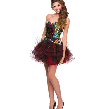 Black & Red Tulle & Sequin Strapless Dress 2015 Prom Dresses