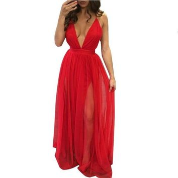 Long Sleeveless Chiffon Dress