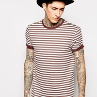 ASOS T-Shirt With Stripe And Distressing In Relaxed Skater Fit
