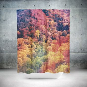 Colorful Autumn Leaves Shower Curtain