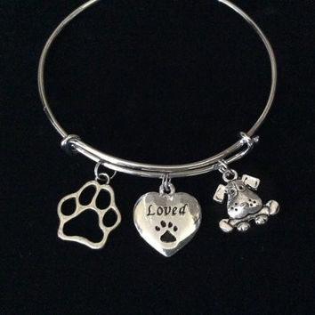 Loved Dog Paw Print Heart Charm on a Silver Expandable Adjustable Wire Bangle Bracelet Meaningful Gift Animal Lover Gift Rescue
