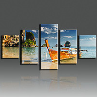 5 Panel Pictures Cuadros Decoracion Canvas Printings Sail Boat Paintings For Living Room Canvas Art Home Decor Unframed