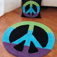 "Peace Sign Rug Set (30"" Rug & 14"" Pillow) PEACE Sign Multicolor"
