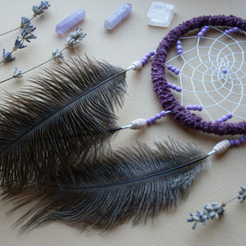 Violet dreamcatcher with ostrich feathers and ceramic beads