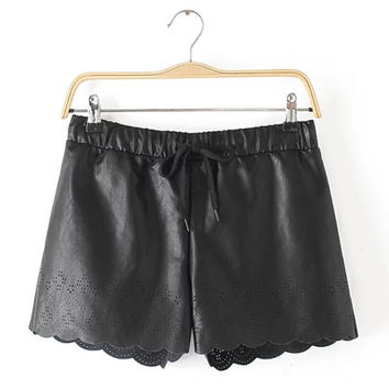 Autumn Women's Fashion Pants Hollow Out PU Leather Shorts [6034461825]