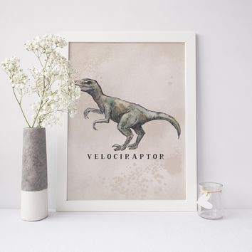 Velociraptor Dinosaur Watercolor Art Print