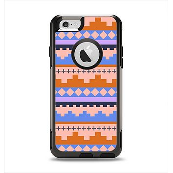 The Pink-Blue & Coral Tribal Ethic Geometric Pattern Apple iPhone 6 Otterbox Commuter Case Skin Set