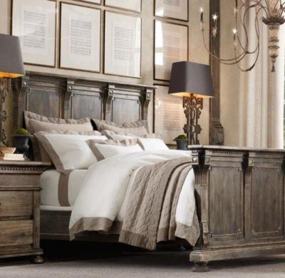 St james panel bed antiqued coffee from restoration for Restoration hardware bedside tables