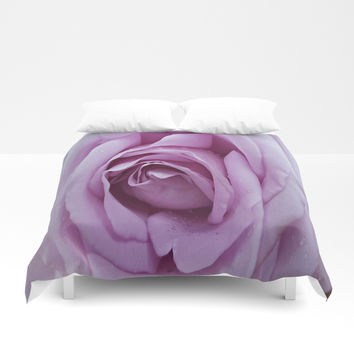 Pale Purple Rose Duvet Cover by Colorful Art