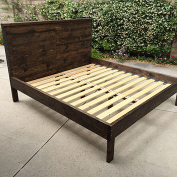 MORDECAI: Rustic Wood Headboard and Frame Complete with Wrought Iron Detail