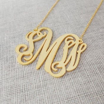 2 inch Monogram Necklace Gold,Personalized Monogram Necklace,Cut Out Monogram Necklace,Nameplate Necklace Gold,Monogrammed Gifts