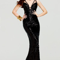 Taylor Swift Inspired Black Sequined Mesh Prom Gown - Unique Vintage - Homecoming Dresses, Pinup & Prom Dresses.