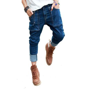 Mens Jeans Washed Pockets Drop Crotch Roll Up Jeans Pencil Pants