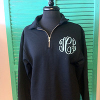 1/4 Zip Monogrammed Sweatshirt Quarter Zip Monogram Sweater Pullover