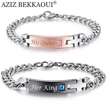 """Unique Gift for Lover """"His Queen""""""""Her King """" Couple Bracelets Stainless"""