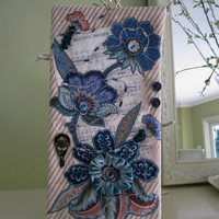 Floral Fiber Art - Mixed Media Wall Hanging - Blue Beige Wall Hanging
