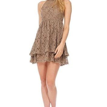 High Neck Halter Mini Tiered Lace Dress