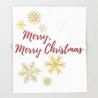 Christmas Fleece Blanket, Merry Christmas Gifts, Gold Snowflakes, Christmas Throw Blanket, Red Holiday Decor, White Bedding Queen