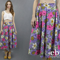 Purple Floral Culottes 80s Culottes Floral Pants Cropped Pants Crop Pants Wide Leg Pants Short Pants 1980s Pants High Waisted Pants