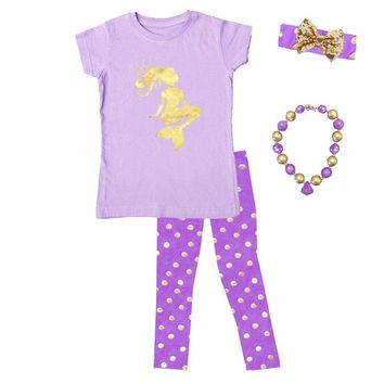 Purple Mermaid Outfit Lavender Gold Polka Dot Top And Leggings Mommy Me