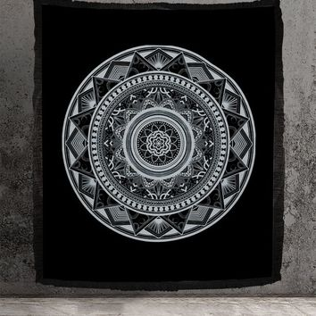 Woven Sacred Geometry Tapestry or Blanket Neutral Wall Hanging or Blanket For Meditation Cotton