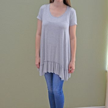 Going Natural Ruffle Top: Light Blue