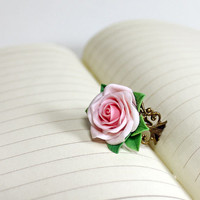 light pink rose Adjustable Ring, flowers ring, vintage ring , jewelry