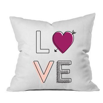 LOVE Multicolor 18x18 Inch Throw Pillow Cover - Couples Gifts For Her - Love Decor Girlfriend Gifts Birthday Present