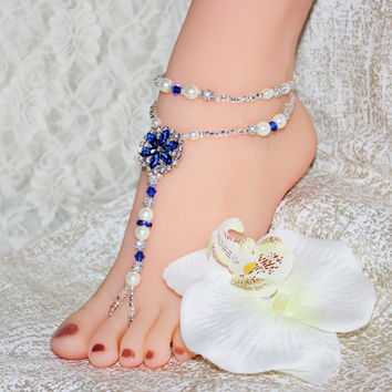Beach Wedding Barefoot Sandals Turquoise Starfish Foot Jewelry Beach Wedding Foot Jewelry Beach Bride Beach Shoes Soleless Beach Wedding